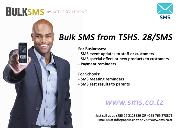 Bulk SMS for Tanzania, Prices from TZS 28 per SMS. Visit www.sms.co.tz for more information of Bulk SMS
